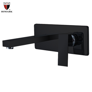 HIMARK Wall Mount Single Lever Matte Black Bathroom Sink Faucet