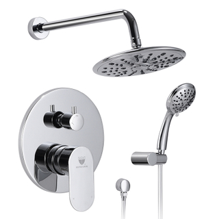 HIMARK bathroom in-wall 2 function chrome tub shower mixer faucet set