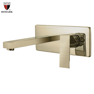 HIMARK contemporary copper wall mount brushed gold bathroom sink faucet